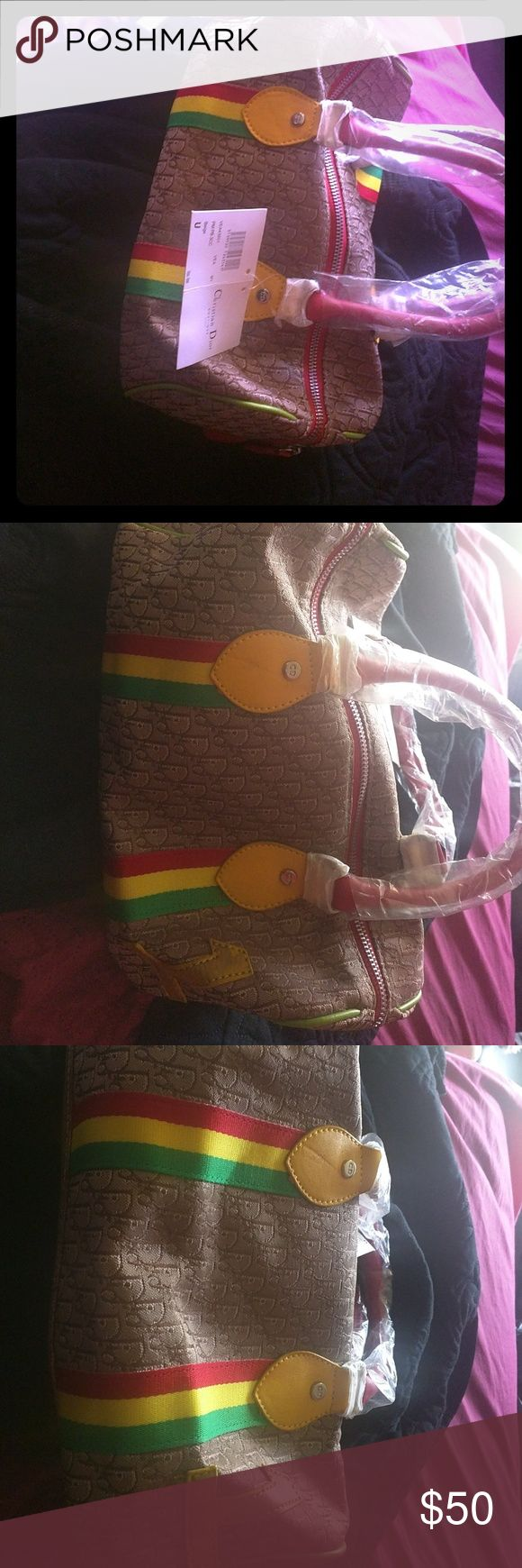 Beige christian dior pocket book Jamaican colors,small,bright colors, the one is a little worn on the side ,includes pocketbook bag and plastic , only used once Christian Dior Bags Mini Bags