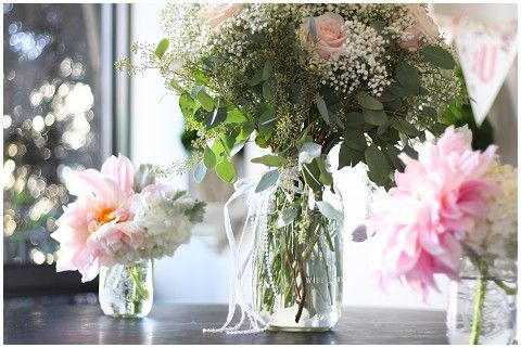 Flowers in Mason Jars for Aisle Markers