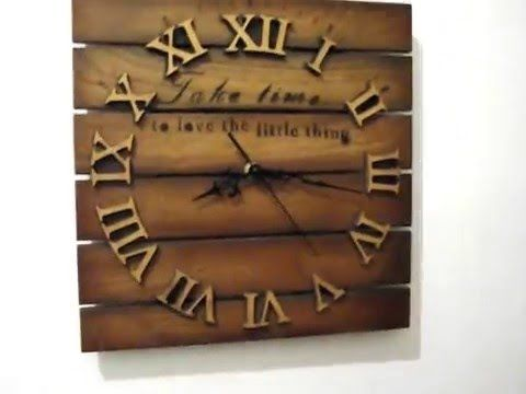 Pallet Wood Wall Clock Art Industrial Vintage Rustic Retro Chabby Chic - YouTube