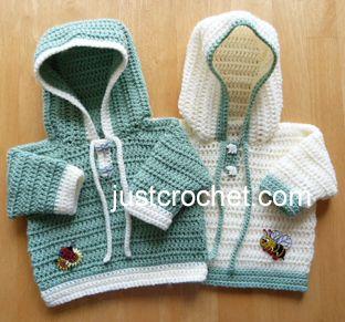 Free baby crochet pattern hooded sweater usa - http://www.justcrochet.com/hooded-sweater-usa.html
