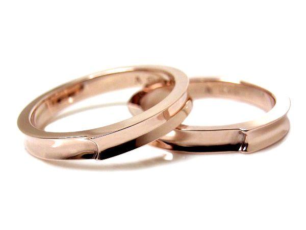 AMBRACE K18 pink gold ring stylish reverse round 3mm ピンクゴールド ペアリング スタイリッシュ リバースラウンド