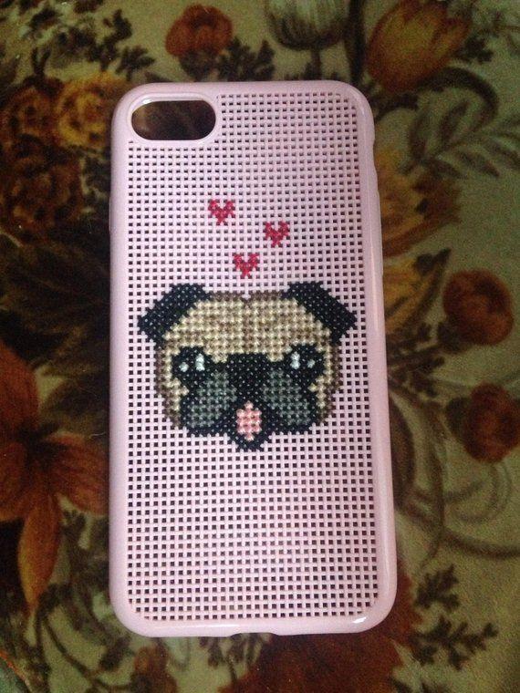 new concept 6298c ed9f2 Cross stitched pug iPhone case | Pug patterns | Cross stitch, Stitch ...