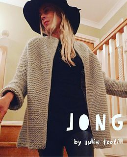 Jong is a one size fits all pattern….minimal detail, maximum style. This bulky oversized garter stitch jacket is knitted top-down with faux seams. It's a great cover-up and warm enough to wear as an outer jacket on most occasions. Its simple style means that it looks good dressed up or down and has the added advantage of being a really quick and easy knit.