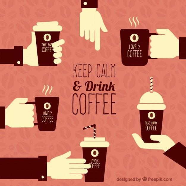 Mantenha a calma e tomar café Vetor grátis
