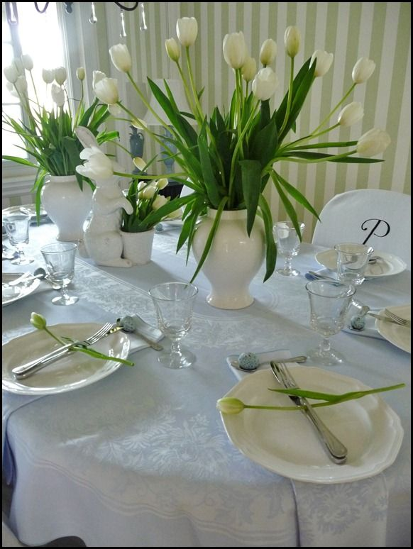 Easter Table- I adore white tulips!