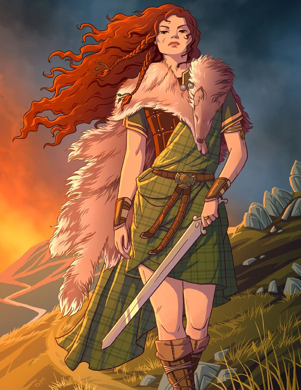 Boudicca, Celtic warrior queen of the Iceni people of Eastern England. After the Romans took their land, stripped her, flogged her and raped her daughters, she led a rebellion against them, destroy...