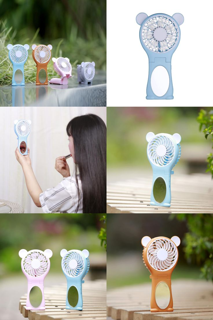 [Visit to Buy] Miniature portable handheld mirror ultra quiet fan rechargeable lithium battery portable handheld Mini USB cute cartoon fan #Advertisement