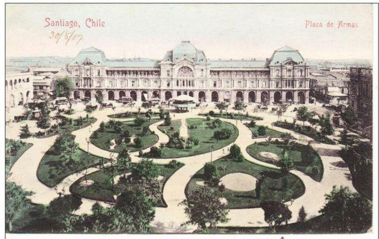Plaza de Armas en 1907. Vista sur. Coloreada. Aporte de @alb0black. Stgo adicto.