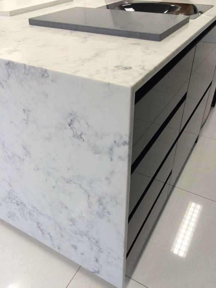 Athena Smartstone, marble look stone, white stone, grey veins.