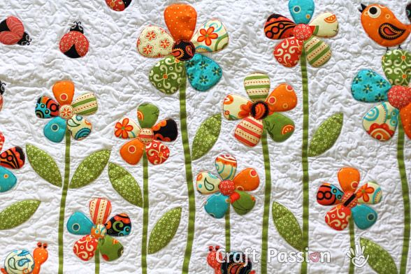 Your latest quilt will look just like a garden in bloom with this cheerful and simple flower applique pattern from @Jamie Dorobek {C.R.A.F.T.} Passion Joanne . Fusible web makes this spring quilt pattern applique project much quicker, and the results will always be clean. This is one floral quilt applique pattern that will prove to be very versatile.