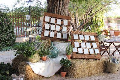 Distribución de los invitados para la cena, estilo campestre. Weddings in Spain. www.eljardindemam... Facebook: www.facebook.com/... Blog: eljardindemamaana