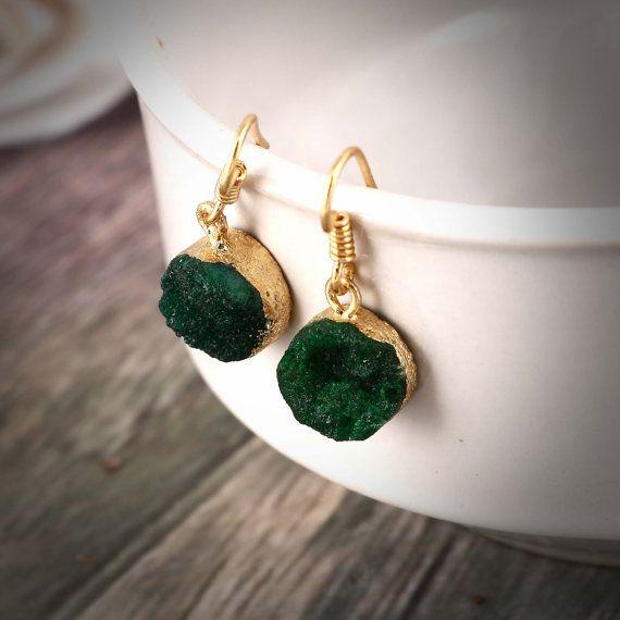 Boho Jewelry Green Druzy Sparkly EarringsFaux by TheEthnicJewels