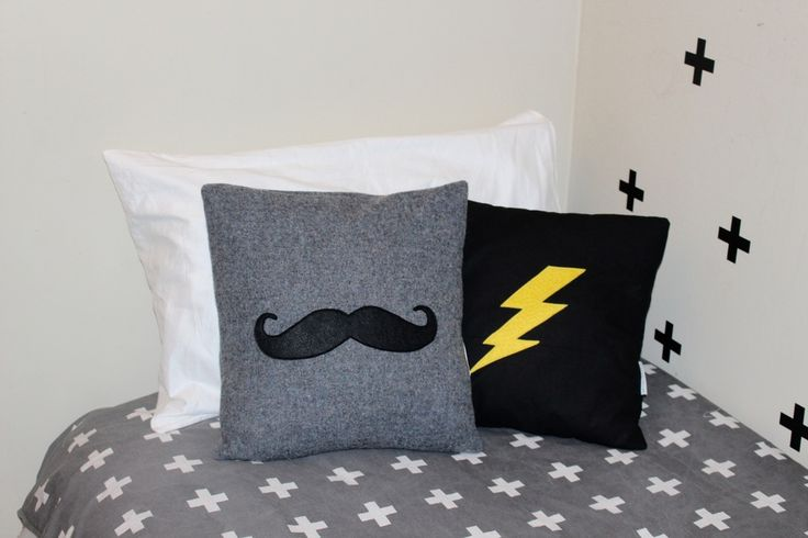 Image of Moustache woollen cushion cover
