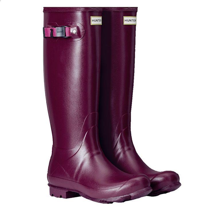 #Hunter Women's Norris Field Wellington Boots - Loganberry/Peppercorn