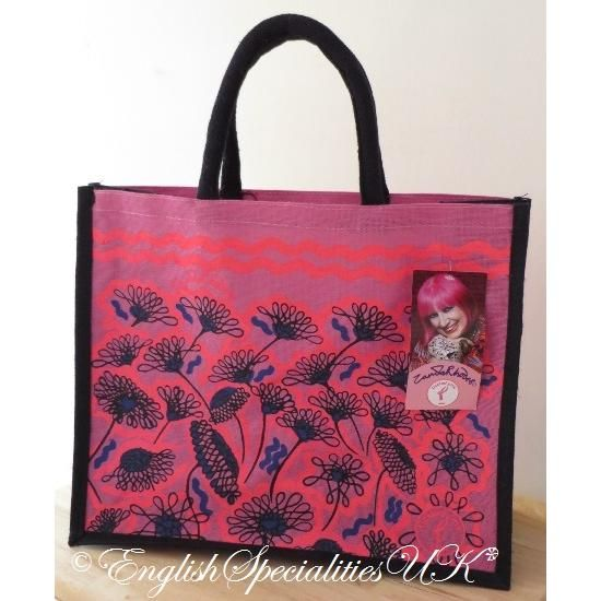 【ASDA】Tickled Pink Jute Eco Bag Pink Flower アスダ ティックル ピンク エコバッグ ピンクフラワー