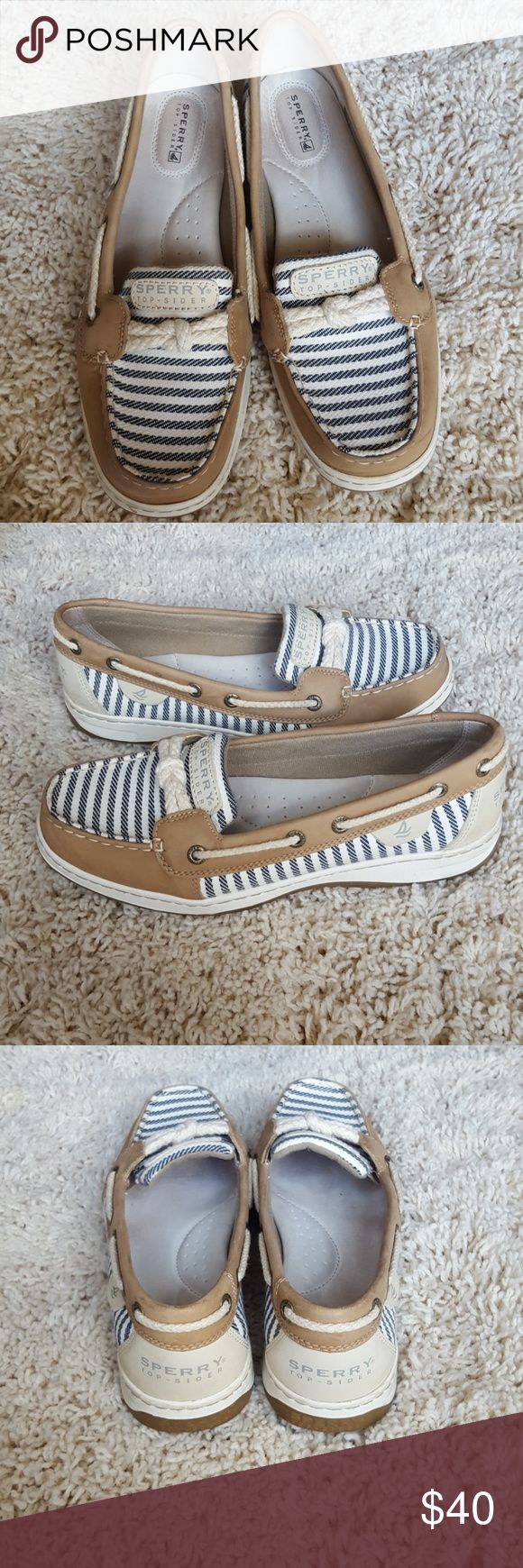 Sperry Top Sider Shoes Size 8 Super cute tan shoes with cream and navy stripes detail. EUC Sperry Top-Sider Shoes Flats & Loafers