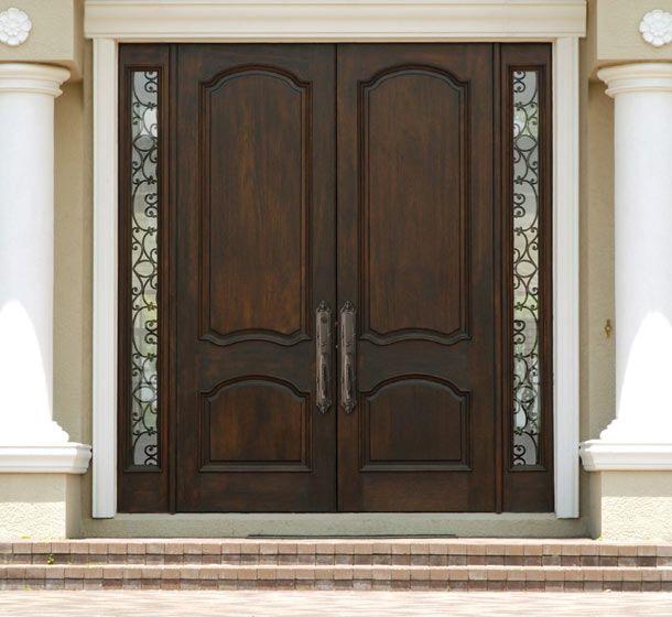 Double Entrance Doors   Double wood door with wrought iron sidelites