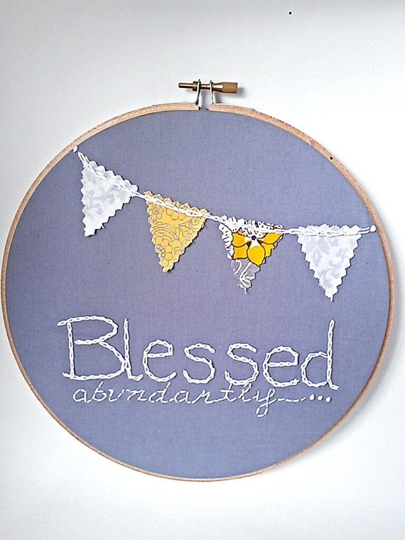 Blessed abundantly embroidery hoop wall art gray by 123littlebirds, $8.00
