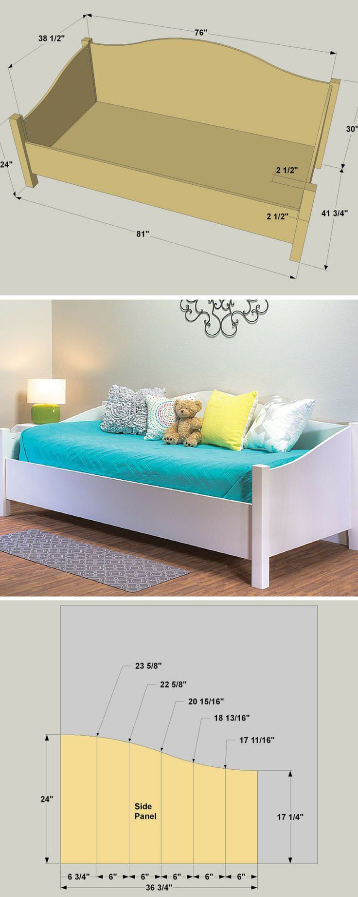 By day, this daybed provides a comfy place to sit. By night, or when needed for guests, it becomes a bed. Whichever purpose it's serving, this daybed looks great doing so. The curves add style, and the look can be masculine, feminine, or neutral, depending on the finish and bedding you choose. Get the free DIY plans at buildsomething.com