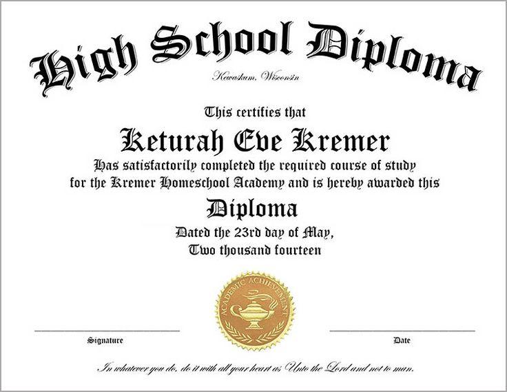 Home School Diploma Sheet for High School Graduates