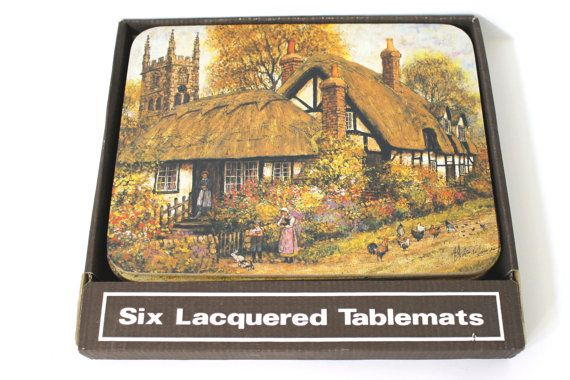 Vintage Cork Backed English Cottage Scenery / Six Placemats