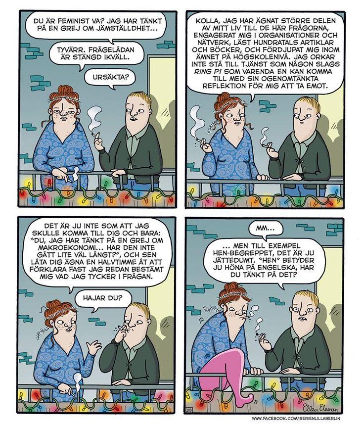 Jämställdhet och hur det känns att få frågor om det.