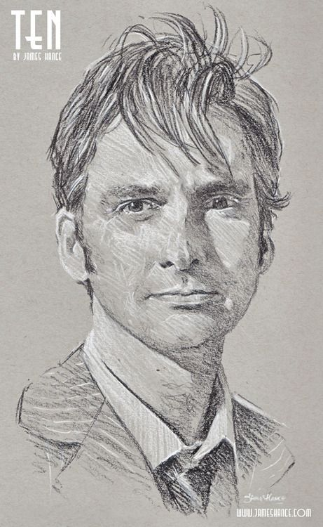"""Latest Doodle - 'Ten' (Doctor Who - Charcoal)  """"People assume that time is a strict progression of cause-and-effect… but actually, from a non-linear, non-subjective viewpoint, it's more like a big ball of wibbly-wobbly… timey-wimey… stuff."""" - by James Hance"""