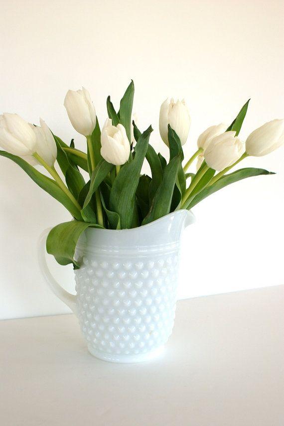 Love milk glass, love white tulips!