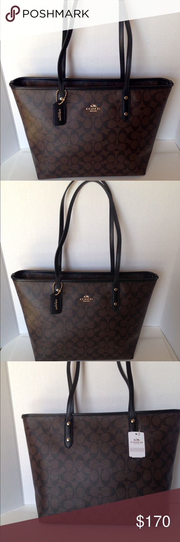 """NWT Coach Sig City Zip Tote/Brn/Blk New with tags signature PVC city zip tote in brown/black; trimmed with black leather. Handles with 9 1/2"""" drop. Gold hardware. Chocolate twill lining with zippered pocket and two slip pockets. F5892. No Trades Coach Bags Shoulder Bags"""