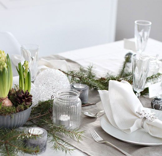 christmas-table-setting - more earthenware with fresh plants and greenery, juxtaposed with crystal, silver, and fluted mason jars...