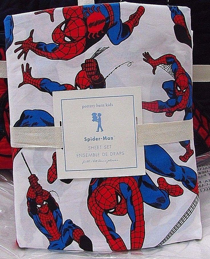 Kids Bedding: Pottery Barn Kids Spider-Man Pose Full Sheet Set, New BUY IT NOW ONLY: $69.0