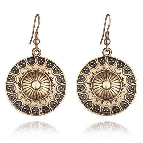 Boho Women Fashion Jewelry Vintage Silver Round Earrings For Women Hollow Flower Pending Earrings Pendant Enthic Jewelry Long Ear Hook Accessory