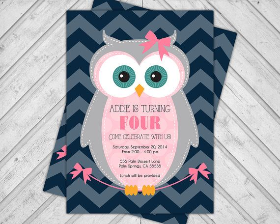 Owl birthday invitation girl - printable birthday party invite chevron - 1st, 2nd 3rd, 4th, 5th birthday invite girl - navy and pink (2003)