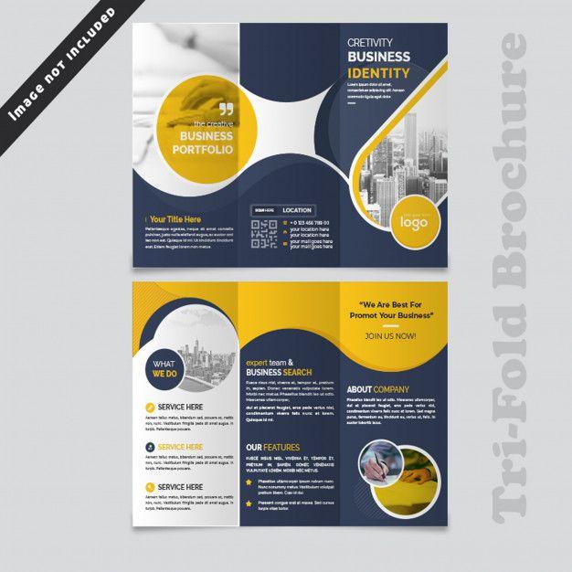 Abstract Wave Blue Trifold Brochure Design Desain Brosur