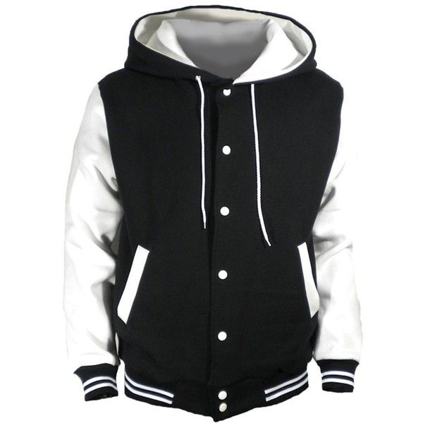 U World Men's Cotton Hood Baseball Varsity Jacket White (€26) ❤ liked on Polyvore featuring mens, men's clothing, men's outerwear, men's jackets and jackets