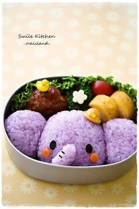 Elephant bento, i would'nt even care if it ended up tasting good, it's so adorable!!!