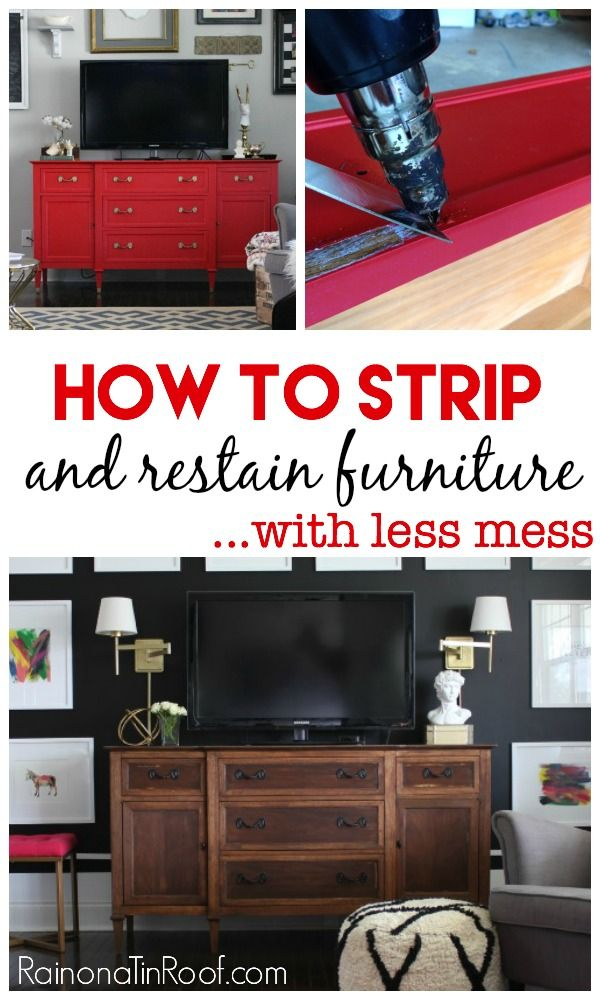 The least messiest way to strip furniture and then restain it. How to Strip Furniture and Restain It - read this before your next furniture makeover!