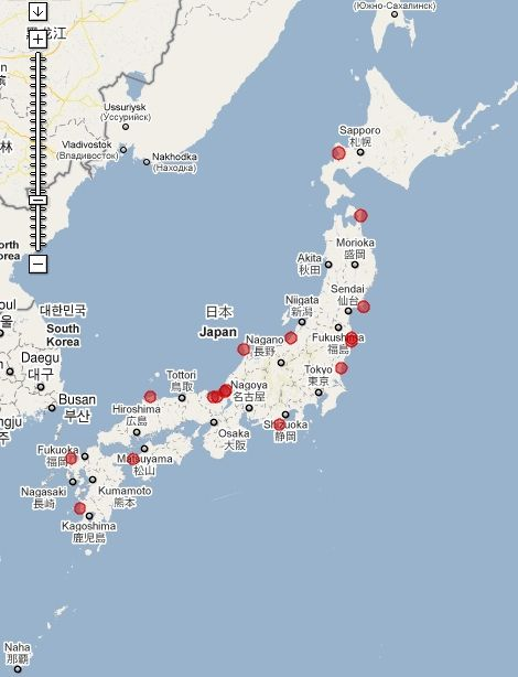 NuclearPowerPlant map in Japan. 20km 原子力発電所からの距離