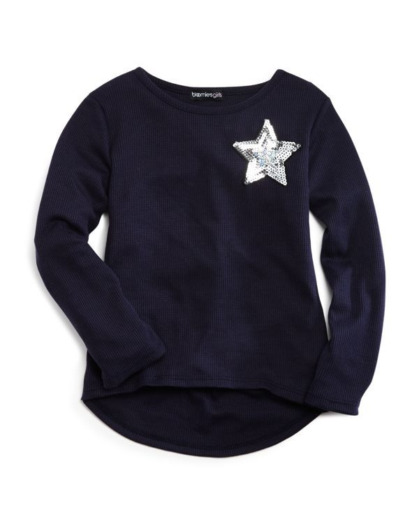 Bloomie's Girls' Waffle Knit Shining Star Top - Sizes 2-6X