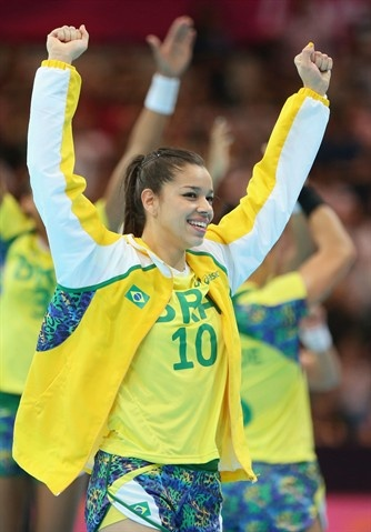 Women's Day 1 Winners - Handball Slideshows | Jessica Quintino of Brazil celebrates victory in the Women's Handball preliminaries Group A - Match 3 between Croatia and Brazil on Day 1. (Photo: Getty Images) #NBCOlympics