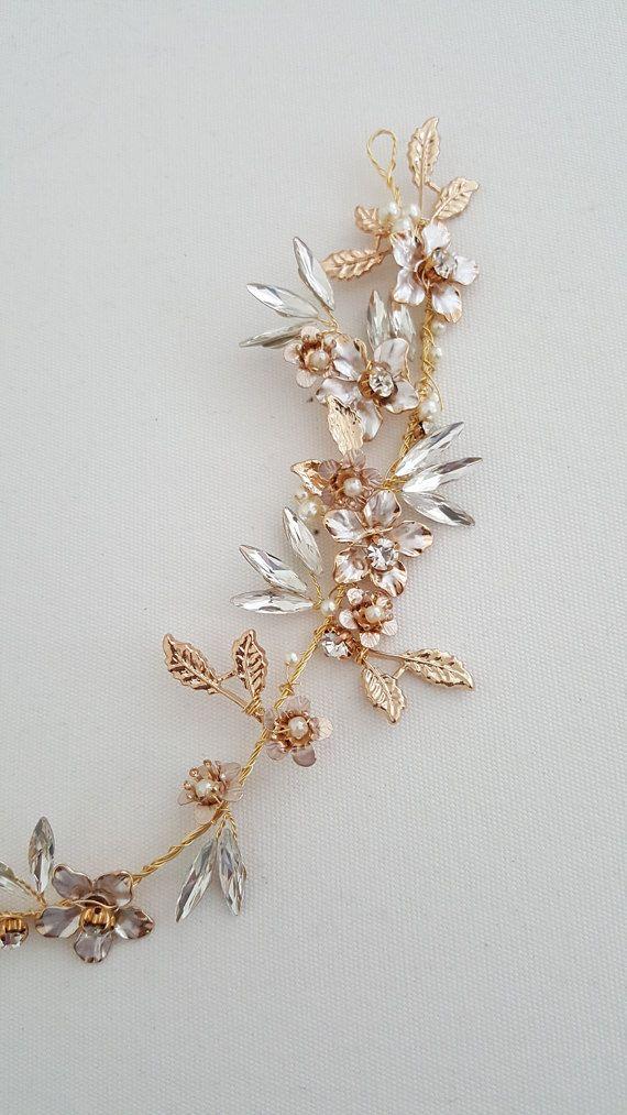 Gouden Bruids zendspoel met Crystal Bridal haar Vine gouden