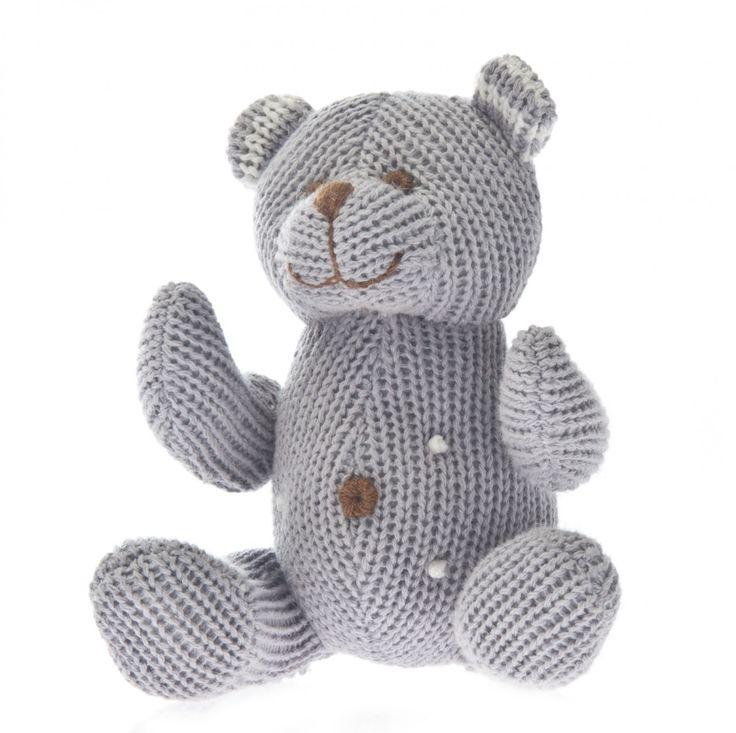 Knit Bear Rattle Polka Dot Grey - Beba Bean Designs Inc Store