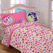 """Hasbro My Little Pony Sheet Set FULL by Pony. $65.99. Twilight Sparkle, Pinkie Pie and the rest of the pony gang remind you that friendship is magic with this fun, brightly colored Hasbro My Little Pony Sheet Set.  Hasbro My Little Pony Sheet Set:      Twin set includes: 1 twin fitted sheet (39"""" x 75""""), 1 twin flat sheet (66"""" x 96"""") and 1 standard pillowcase (20"""" x 26"""")     Full set includes: 1 twin fitted sheet (54"""" x 75""""), 1 twin flat sheet (81"""" x 96"""") and 2 standard..."""