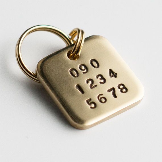 Square Shaped Dog Tag Brass Pet ID Tag by wagtagdesign on Etsy