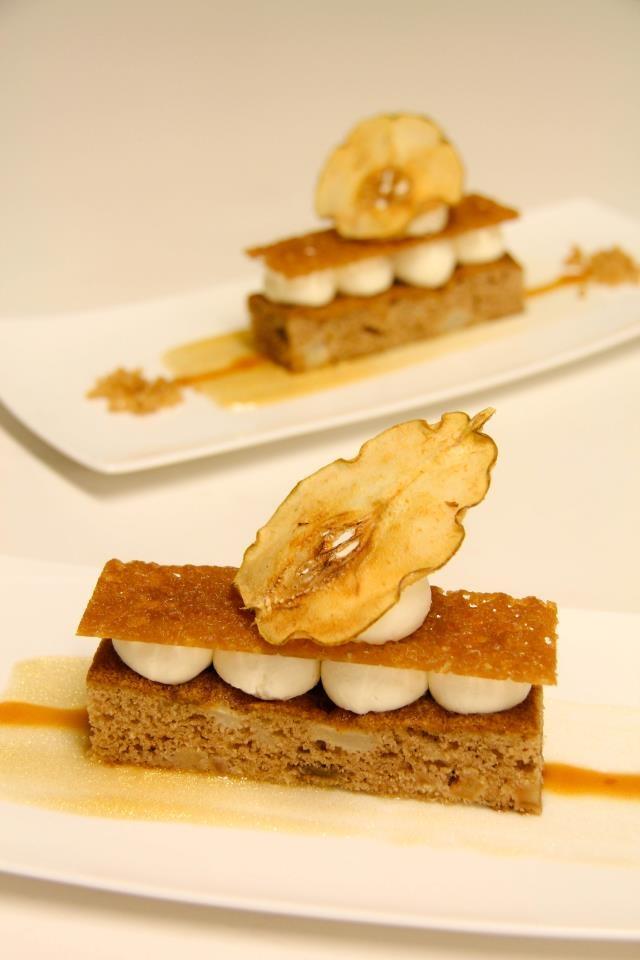 Spiced Apple Pear Cake, Mascarpone Mousse, Caramel, Pear Chip