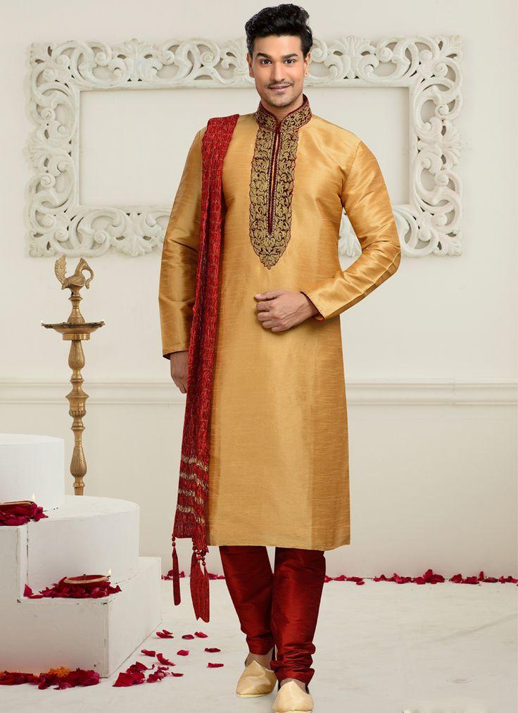 Beige Art Silk Embroidered Work Wedding Wear Churidar Kurta Pajama