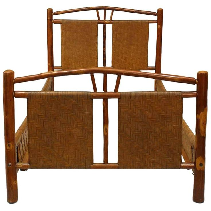 Rustic Old Hickory Single Size Bed with Natural Woven Design | From a unique collection of antique and modern bedroom furniture at https://www.1stdibs.com/furniture/more-furniture-collectibles/bedroom-furniture/