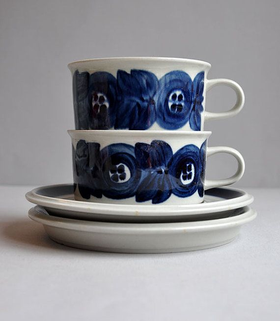 Arabia Anemone Cup & Saucer by Ulla Procope Set of by MisterTrue