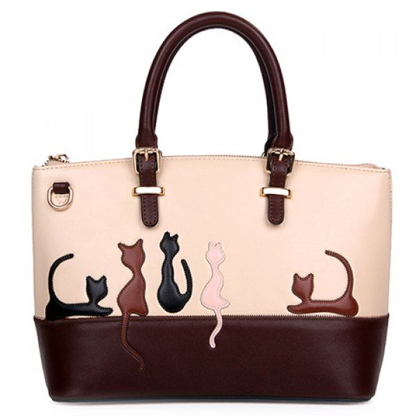 $25.92 Ladylike Animal Pattern and Color Block Design Women's Tote Bag