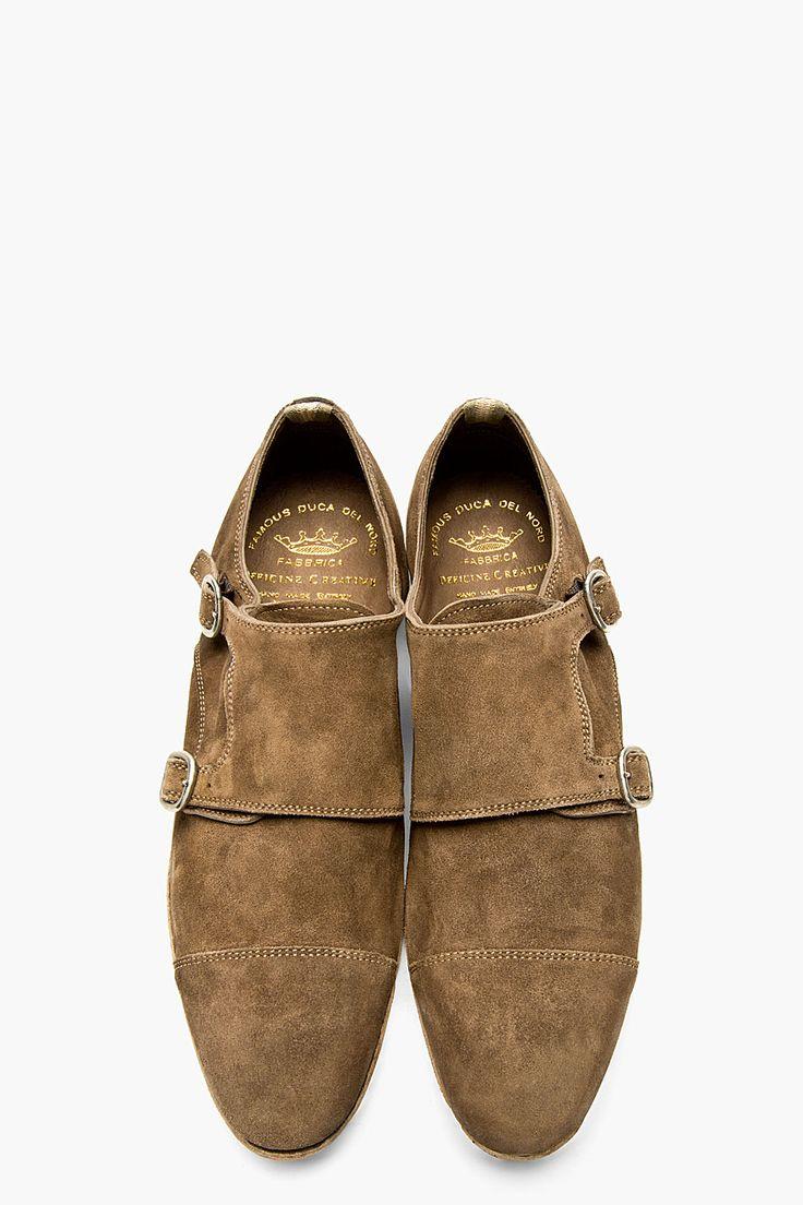OFFICINE CREATIVE Brown Suede Monk Strap JANUS Shoes